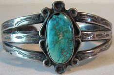 VINTAGE NAVAJO INDIAN STAMPED STERLING SILVER TURQUOISE CUFF BRACELET