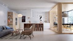 """So many creative ideas in this New Nordic apartment remodelling. Look at the psychological """"dining room"""". Non kitchen-y kitchen fits in like furniture."""