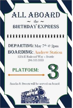 Train Themed Birthday Party with FREE Printables Pinterest