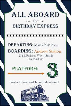Invitation from Vintage Classic Train Themed Birthday Party at Kara's Party Ideas.