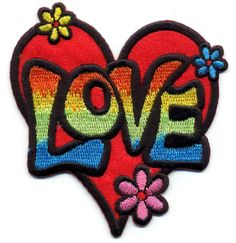 Love - Heart - Retro - - - Hippie - Embroidered Iron On Applique Patch Embroidery Designs, Vintage Embroidery, Embroidery Applique, Cute Patches, Pin And Patches, Iron Patches, Lazy Daisy Stitch, Multi Colored Flowers, Embroidery Patches