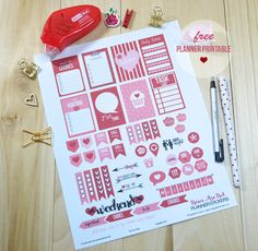 Roses Are Red Planner Stickers - Free Printable
