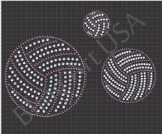 Volleyball Rhinestone Downloads File Template Sports Bling Girl Sports SVG PLT EPS PDF Ball Stone System Color Sticky Flock