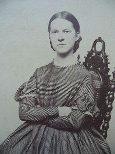 CIVIL WAR ERA CDV-GIRL WITH CROSSED ARMS WEARING PATTERNED HOOP DRESS   eBay