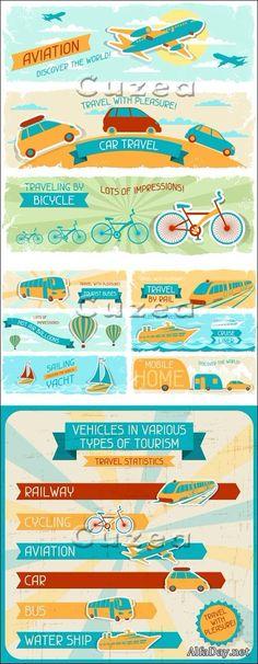 Виды транспорта и транспортировки, путешествие, баннеры и фоны - векторный клипарт