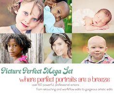 $199 Photoshop Actions Elements PSE Enhance Portraits Plug In Editing