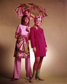 Braniff International Stewardess Uniforms, Designed by Emilio Pucci,  L: 1971, R: 1965