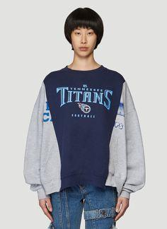 Bonum Upcycled Crewneck Sweatshirt in Blue Unique Fashion, Teen Fashion, Korean Fashion, Remake Clothes, Diy Clothes, Vintage Fashion Photography, Denim Branding, Patchwork Dress, Poses