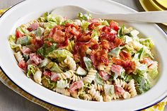 Sure, this better-for-you pasta salad includes fresh veggies, as you might expect. But it also delivers a creamy dressing and crumbled bacon. Surprise!