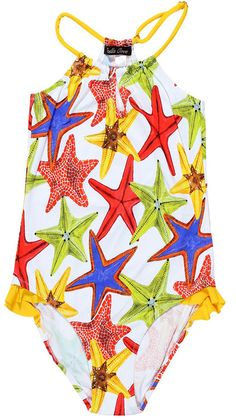 Starfish On White Swimsuit For Girls. Shop our Colorful starfish on white swimsuit for girls and also checkout our matching shorts for brothers.