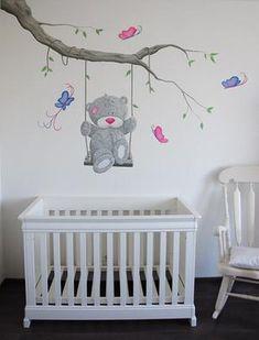 Bekijk de foto van BIMschilderijen met als titel Me to You babykamer muurschildering.  Wanddecoratie met vlinders voor in de meisjes babykamer. De tak en het beertje kan op veel manieren geschilderd worden door BIM Muurschildering. en andere inspirerende plaatjes op Welke.nl.