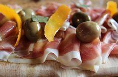 Serrano Ham with Spanish Olives and Orange Peel