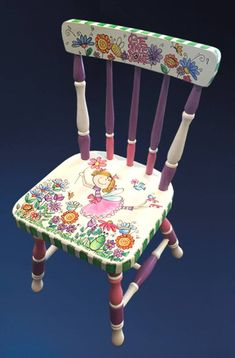 Hand-Painted Personalized Custom Child's Chair Nursery Decor Hand-Painted Personalized Custom Child's Chair Nursery Decor Painted Kids Chairs, Painted Rocking Chairs, Whimsical Painted Furniture, Painted Stools, Hand Painted Furniture, Funky Furniture, Furniture Makeover, Furniture Ideas, Rocking Chair Nursery