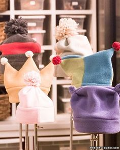 Keep warm all winter with these easy-to-make fleece hats.