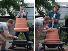 Make A Cheap Pizza Oven Using A Fire Pit And A Flower Pot .This made me laugh out loud! I hope that's not a plastic flower pot. That would make a really interesting melted pizza topping.
