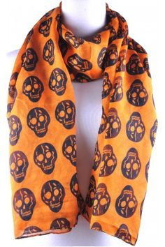 Orange Base Black Skull Print Scarf Available from www.skullaccessories.co.uk