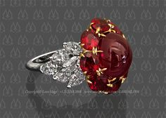 Mesmerizing cluster ring featuring a stunning natural Burmese ruby. The center stone is beautifully embraced by a web of well matched pigeon blood rubies. This lavish design completes with layers of descending pear shaped diamonds set on the shank perfectly complimenting the vivid color of the rubies.