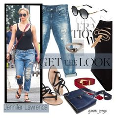 """Jennifer Lawrence-Get the Look"" by goreti ❤ liked on Polyvore featuring Sans Souci, Maison Margiela, T By Alexander Wang, Gucci, Valentino, GetTheLook and CelebrityStyle"