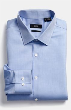 BOSS Black Slim Fit Dress Shirt available at #Nordstrom bright blue, lavender, or white