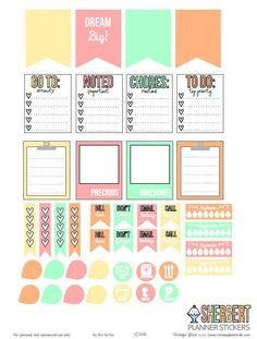 Free Printable Sherbert Planner Stickers from Vintage Glam Studio Free Planner, Planner Pages, Happy Planner, Glam Planner, Smash Book, Planer Organisation, Life Organization, Planner Supplies, Planner Ideas