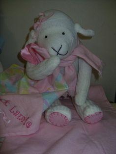 Sock lamb, sock monkey friend, stuffed animal toy