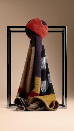 Colour Block Check Wool Cashmere Scarf - a wool cashmere blanket scarf in a colour block check design. Find the perfect gift this festive season at Burberry.com #burberrygifts #christmas