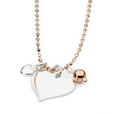 Sterling silver heart with sterling silver ball and small heart charms on a sterling silver rose gold-plated diamond-cut bead chain. A beautiful necklace - classic with a twist. This would look great layered with other Leoni Perfect Gift For Her, Gifts For Her, Black Wallet, Small Heart, Rose Gold Plates, Beautiful Necklaces, Heart Charm, Diamond Cuts, Gold Necklace