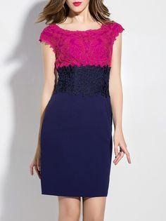 #AdoreWe #StyleWe Dresses - YZXH Color-block Sheath Short Sleeve Elegant Crew Neck Mini Dress - AdoreWe.net