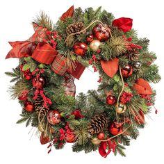 """32"""" Premium Decorated Wreath - Red Accents - Sam's Club"""