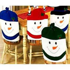 4pc 1set Lovely Christmas Chair Covers Santa Claus Decoration Dining Room Cover Home