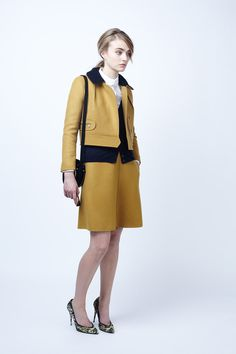 Mustard yellow and navy. Classically energetic prep. #prefall2012 #carven #NYC
