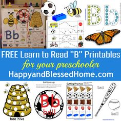 "54 FREE Printable Pages, and 28 Preschool Activities to Learn to Read Letter ""B"" from www.HappyandBlessedHome.com"