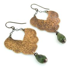 Hammered Brass Moroccan Inspired Earrings with Faceted Jade Drops
