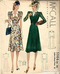 Gorgeous 1940s dress pattern.