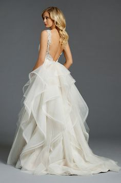 A beautiful tulle ball gown with cascades throughout skirt. Alvina Valenta, Fall 2014
