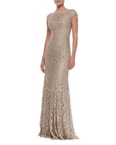 Mother of the Groom?  Foil Lace Cap Sleeve Gown by ML Monique Lhuillier at Neiman Marcus.