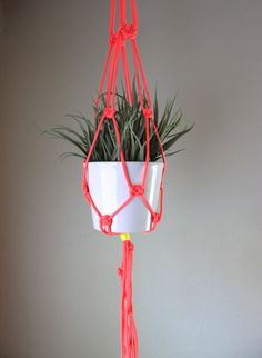 Neon Pink Macrame Plant Hanger with White by ThriftedandMade