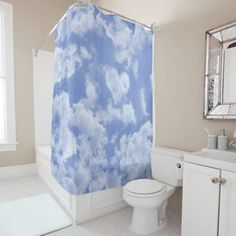 """Heart Shaped Cloud Lovely Blue Template Elegant Shower Curtain photography of a beautiful sky with an heart shaped cloud. You can easily add a name, a monogram, or any text on the template. Main colors of this creation: pastel blue and white. Find other accessories with this picture in my HEART CLOUD Collection on Zazzle! Dimensions: 71"""" x 71"""". Fits most standard size tubs Fabric: 100% polyester Vivid, durable full color print Funny Bathroom Decor, Cute Bedroom Decor, Bathroom Humor, Elegant Shower Curtains, Custom Shower Curtains, Blue Clouds, Floral Pillows, Inspired Homes, Color Print"""