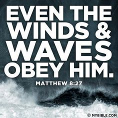 Matthew 8:27 KJV  But the men marvelled, saying, What manner of man is this, that even the winds and the sea obey him!