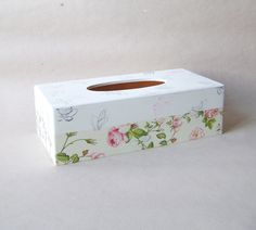 Paper napkin holder / Wooden paper serviette box / Vintage Style/ Shabby chic / Roses and Butterflys. $30.00, via Etsy.