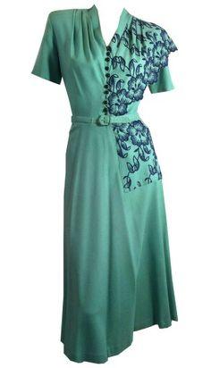 1940s Rayon Teal dress