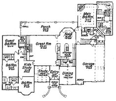 Home Plans HOMEPW15733 - 3,140 Square Feet, 4 Bedroom 3 Bathroom French Country Home with 3 Garage Bays