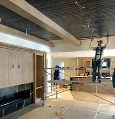 """Melissa Manzardo Hryszko on Instagram: """"The basement ceiling at Veranda {custom} is getting completed with the black T&G and we are so excited to see this space develop. The…"""" Stair Banister, Banisters, Basement Stairs, Master Bath, Ceiling Lights, Moldings, Instagram, Home Decor, Space"""