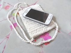 Crochet white mobile phone case bag cell phone by NatureElfsArt