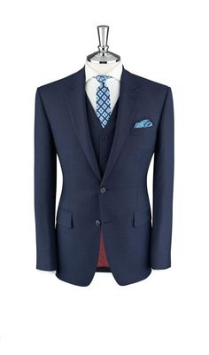 Holborn Two Tone Navy Blue Weave 2-Button Slim Fit Suit,