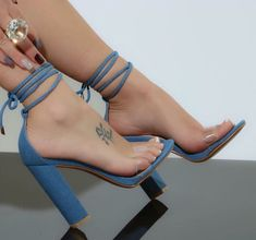Western Fashion Women Open Toe One PVC Strap Chunky Heel Gladiator Sandals Ankle Strap High Heel Sandals Dress Heels Shoes Fancy Shoes, Pretty Shoes, Beautiful Shoes, Cute Shoes, Me Too Shoes, Gorgeous Heels, Pumps Heels, High Heels, Blue Heels
