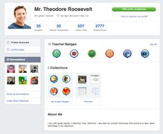 "All other information within the teacher profile has been reorganized into three tabs: Profile Overview  – See Teacher Badges you've earned, your Collections (student badges and favorites), and keep your About Me section up-to-date. Communities – Get easy access to all the communities you follow, as well as a link that takes you to the full list of subject area and publisher communities. Connections – See all your teacher connections and easily invite teachers to Edmodo by using the ""Invite…"