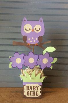 Púrpura búho bebé ducha central por NoOneLikeYou en Etsy