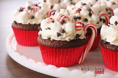 Hot Cocoa Cupcakes recipe. What a cute idea for those long cold winter months and the holidays. I may change the frosting to a buttercream but love this idea and they look so cute!
