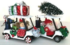 Mini Christmas Golf Carts. Too cute!!